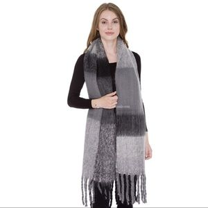 Accessories - Super Soft Plaid Blanket Scarf with Fringes🖤